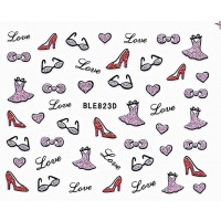 Nail Art Glitter Sticker Nailart Tattoo High Heels Lila Rot