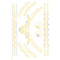 Luxus Temporary Body Tattoo Gold Silber Metallic Armband Colier Quadrate