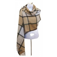 XXL Damen Schal Winter Karo Check Tuch Plaid Cape Poncho Tartan - Beige