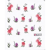 One Stroke Sticker Nailart Tattoo Blüten Pink Lila