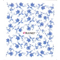 One Stroke Sticker Nailart Tattoo Blüten Blau