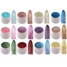 12 x UV Farbgel Glitter Effekt Gel Set