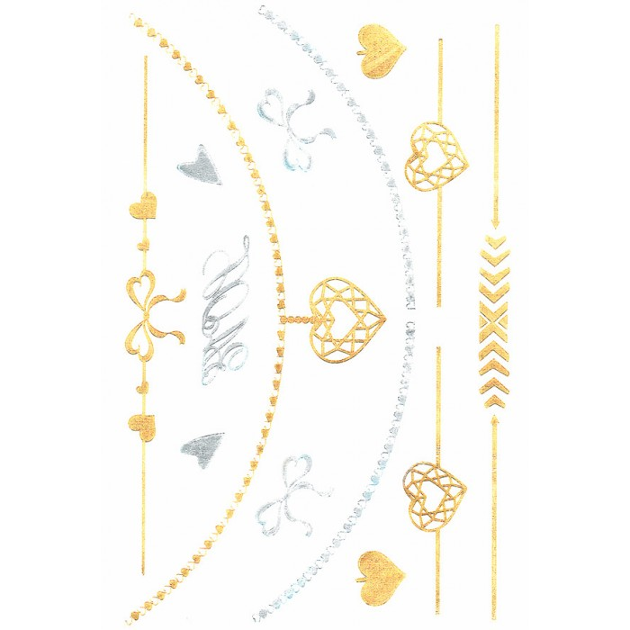 Luxus Temporary Body Tattoo Gold Silber Metallic Armband Colier Herz