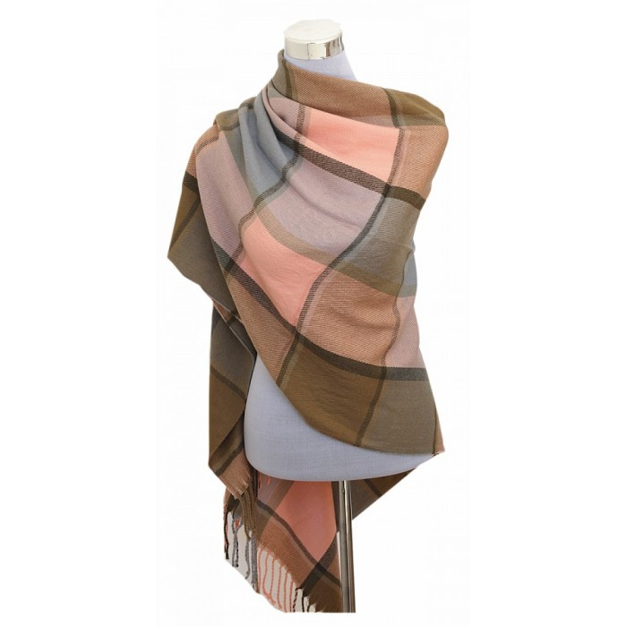 XXL Damen Schal Winter Karo Check Tuch Plaid Cape Poncho Tartan - Rosa Beige