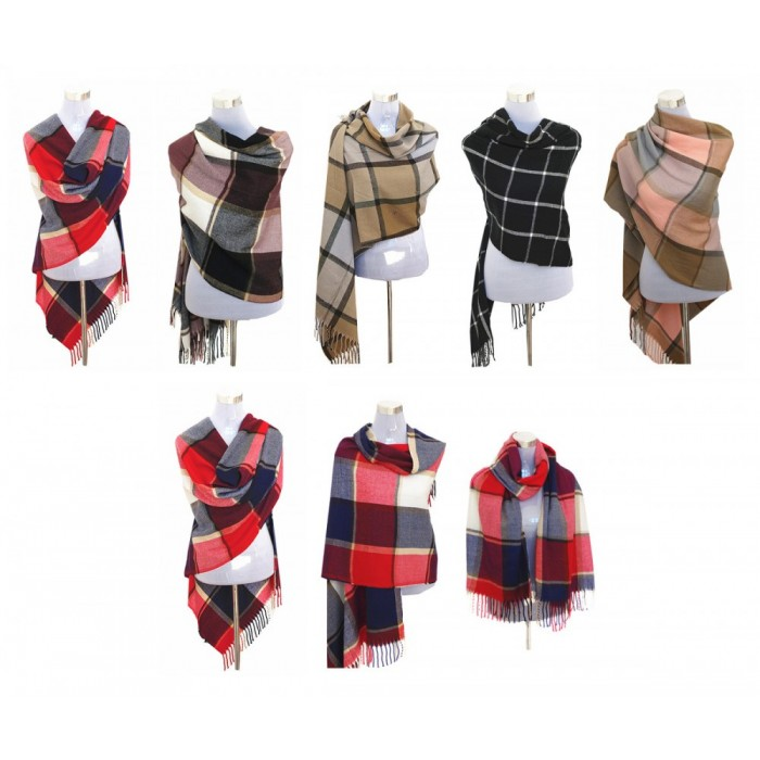 XXL Damen Schal Winter Karo Check Tuch Plaid Cape Poncho Tartan
