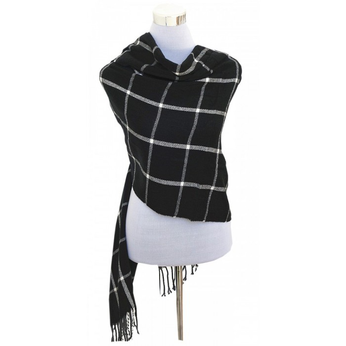 XXL Damen Schal Winter Karo Check Tuch Plaid Cape Poncho Tartan - Schwarz